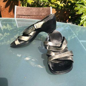 Naot Slide Sandals Warm Silver Cross Straps